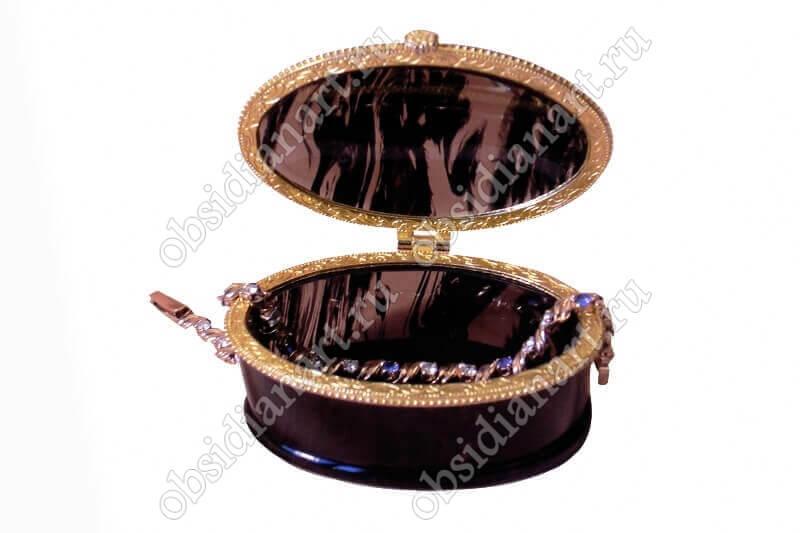 Шкатулка «Эллипс» из обсидиана (натуральный камень)