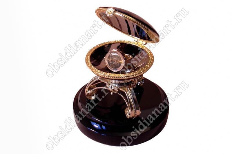 Шкатулка «Жемчуг» из обсидиана (натуральный камень)