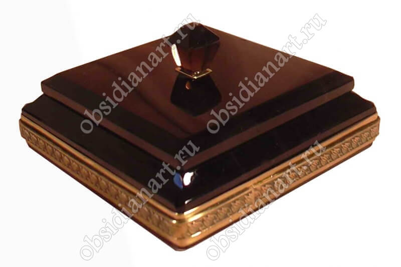 Шкатулка «Авангард» из обсидиана (натуральный камень)