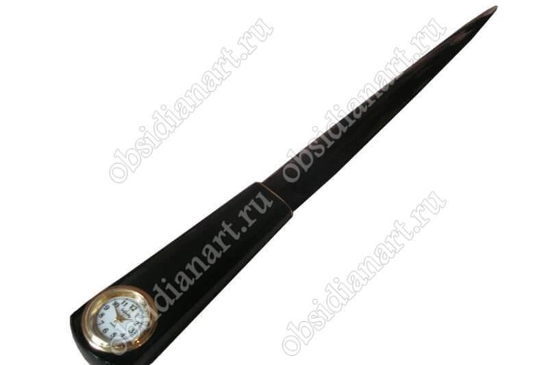 Эксклюзивный нож «С часами» из обсидиана