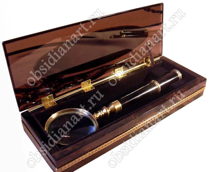 Подарочная лупа в коробке из обсидиана «Презент»