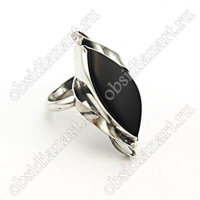 Кольцо из серебра 925 пробы с обсидианом
