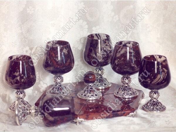 Фужеры «Эксклюзив» из серебра и полудрагоценного камня обсидиан