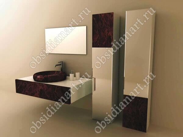 Ванные шкафы из натурального камня обсидиан