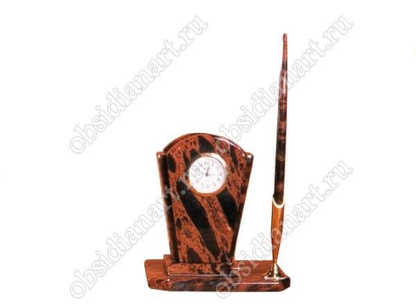 Настольный набор «Секретарь А 02» из натурального камня обсидиан