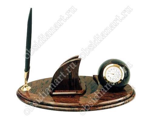 Офисный настольный набор «Овал» из натурального камня обсидант
