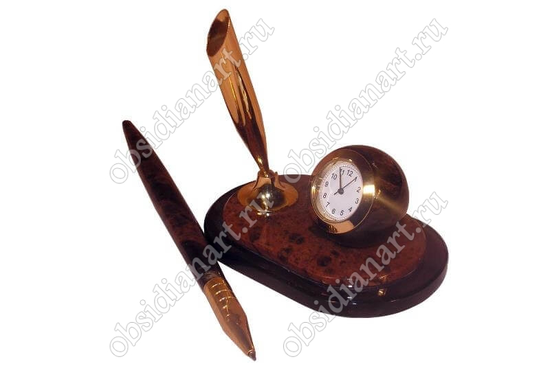 Ручка и часы с подставкой из обсидиана «Мини 5»