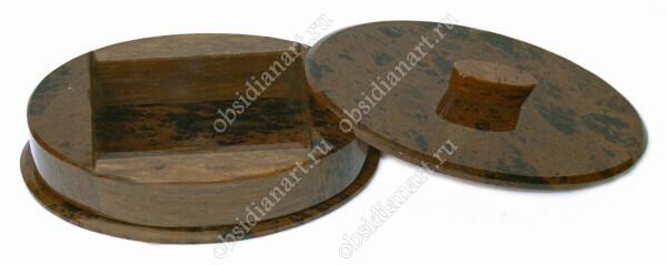 Шкатулка «Овал» из натурального камня обсидиан