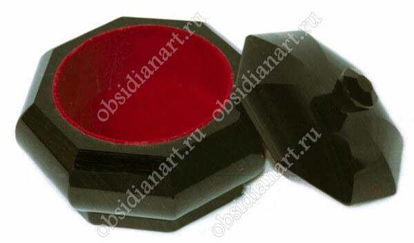 Шкатулка «Цветок» из натурального камня обсидиан