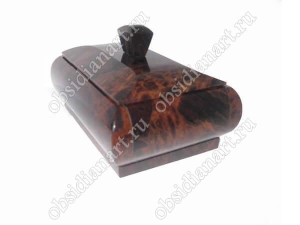 Шкатулка «Катя» из натурального камня обсидиан
