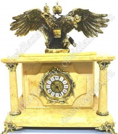 Сейф «Двуглавый орел», встроенный в настольные часы из мрамора