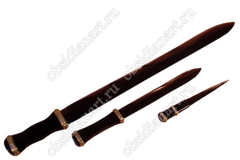 Комплект из меча, кинжала и ножа в подарок, обсидиан (вулканическое стекло)