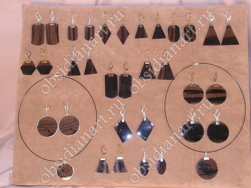 Украшения из серебра, золота и обсидиана
