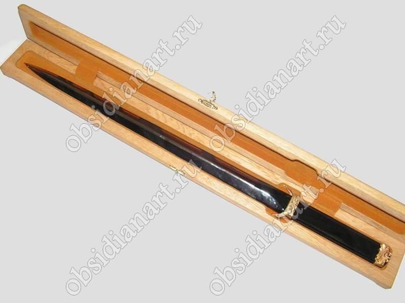Подарочный меч из камня в коробке, обсидиан (вулканическое стекло)