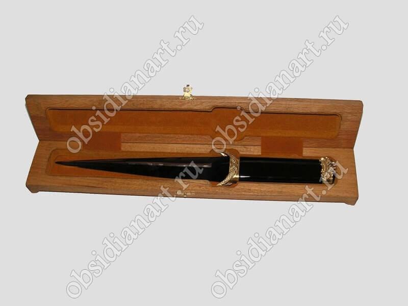 Подарочный нож в коробке, вулканическое стекло обсидиан