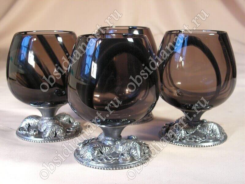Бокалы «Серебро 2» из полудрагоценного камня обсидиан и серебра