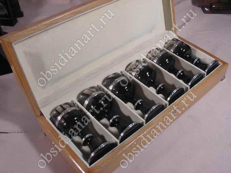 Бокалы «Серебро 3» из полудрагоценного камня обсидиан и серебра