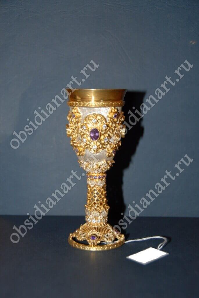 Серебряный фужер с позолотой, арт. f-002