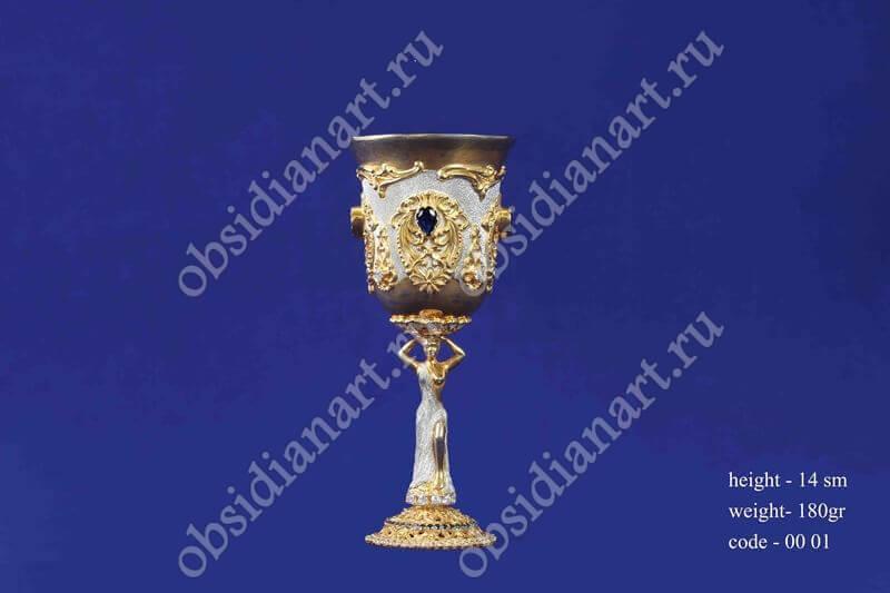 Серебряная рюмка с позолотой арт.fj-0001