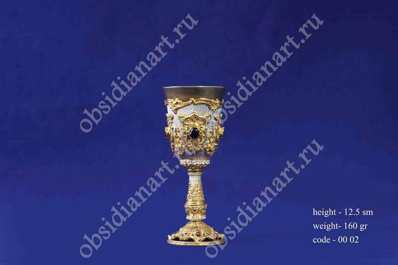 Серебряная рюмка с позолотой арт.fj-0002