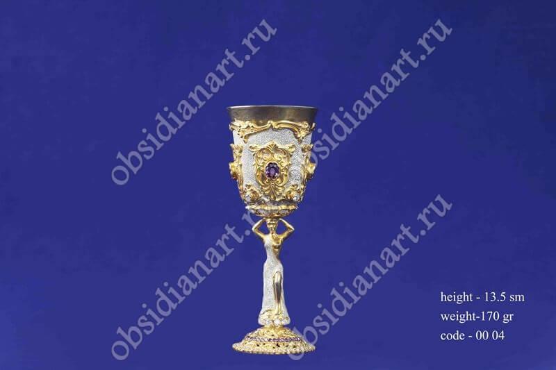 Рюмка из серебра с позолотой арт.fj-0004