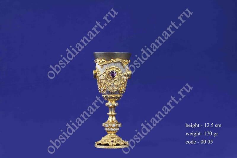 Рюмка из серебра с золочением арт.fj-0005