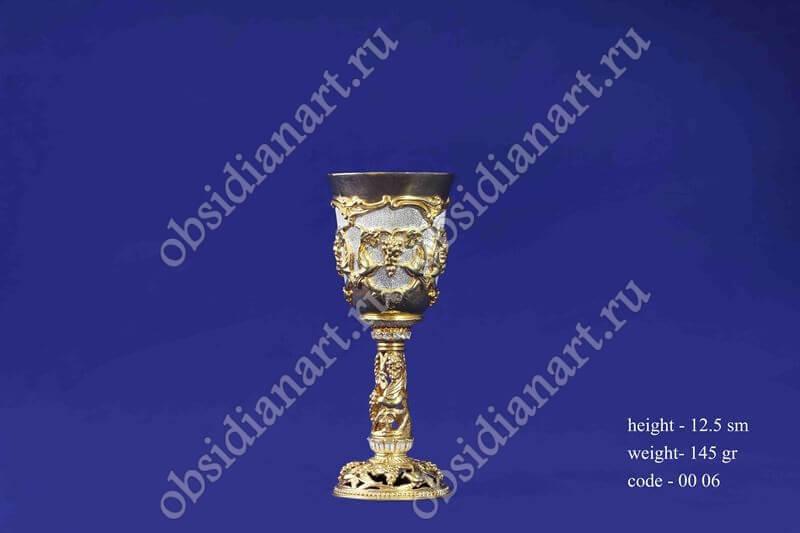 Серебряная рюмка в позолоте арт.fj-0006