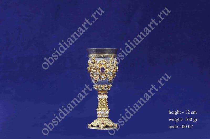Серебряная рюмка с позолотой арт.fj-0007