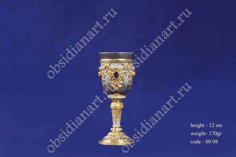 Серебряная стопка с позолотой арт.fj-0008