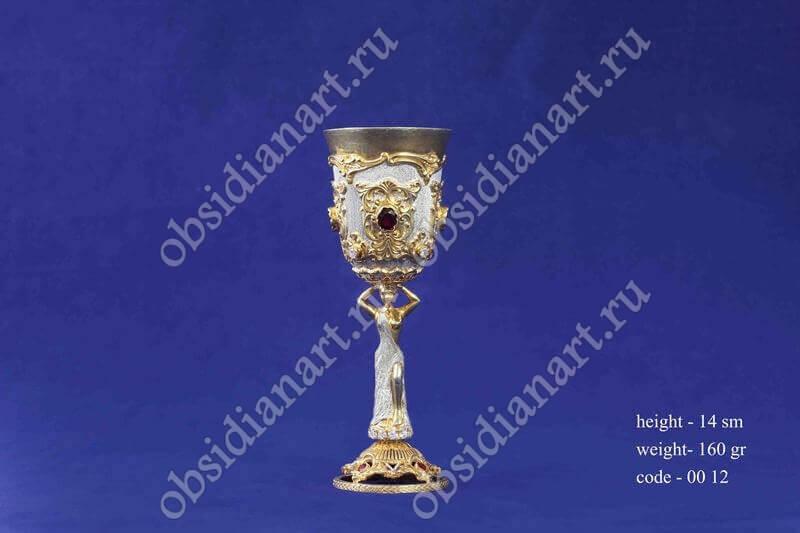 Рюмка, серебро, позолота, арт.fj-0012