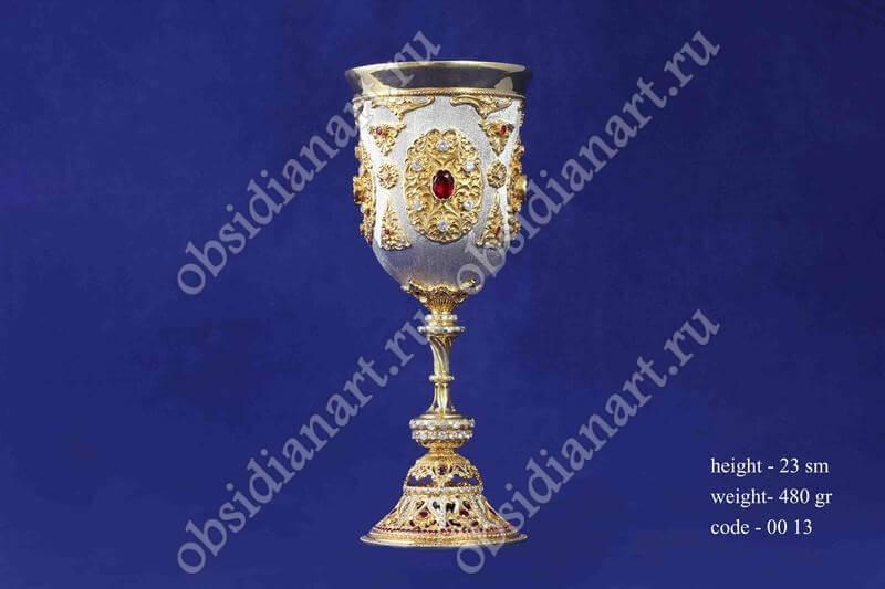 Серебряный кубок с позолотой (бокал) арт.fj-0013