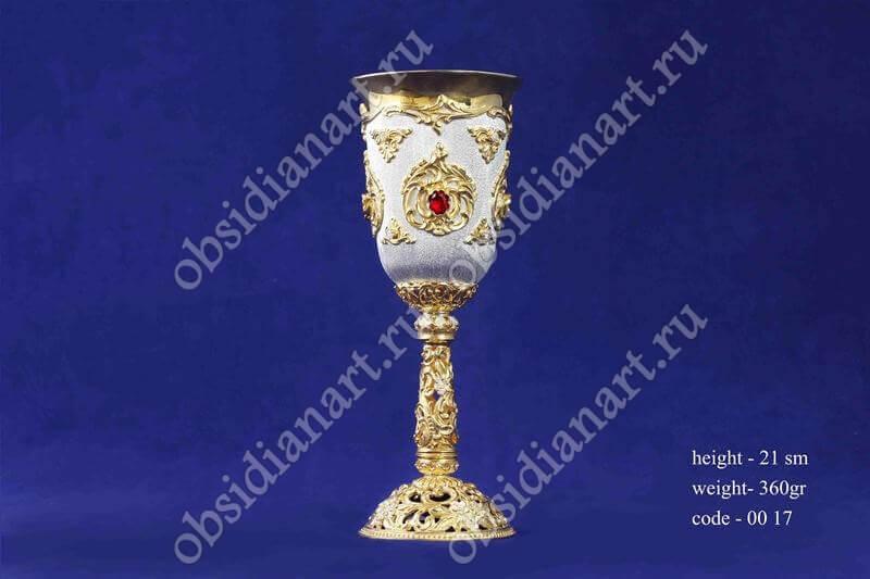 Оригинальный бокал из серебра с золочением (кубок), арт.fj-0017