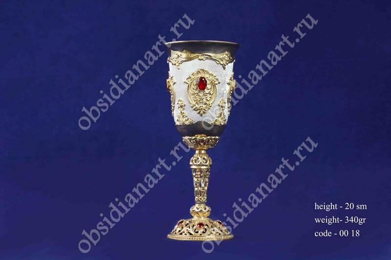 Серебряный фужер с позолотой арт.fj-0018