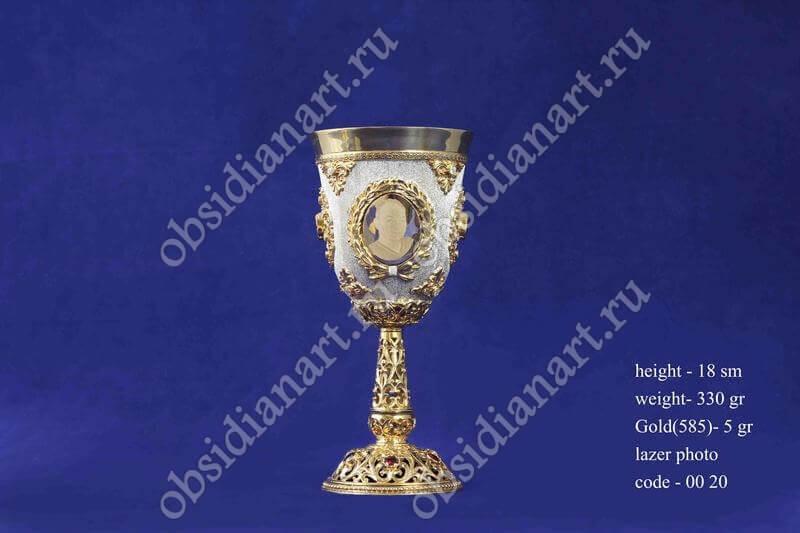Бокал из золота и серебра с лазерным нанесением фотографий арт.fj-0020