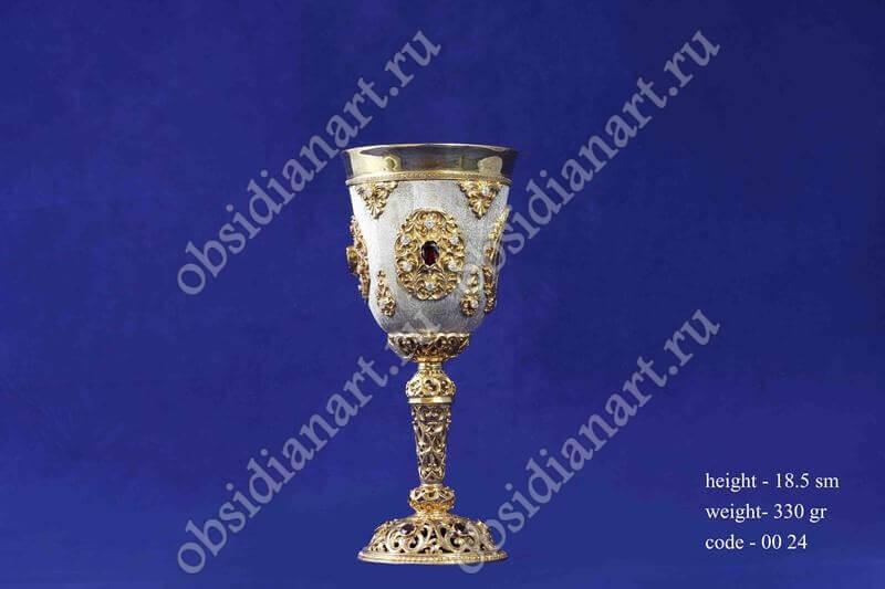 Серебряный фужер с золочением арт.fj-0024
