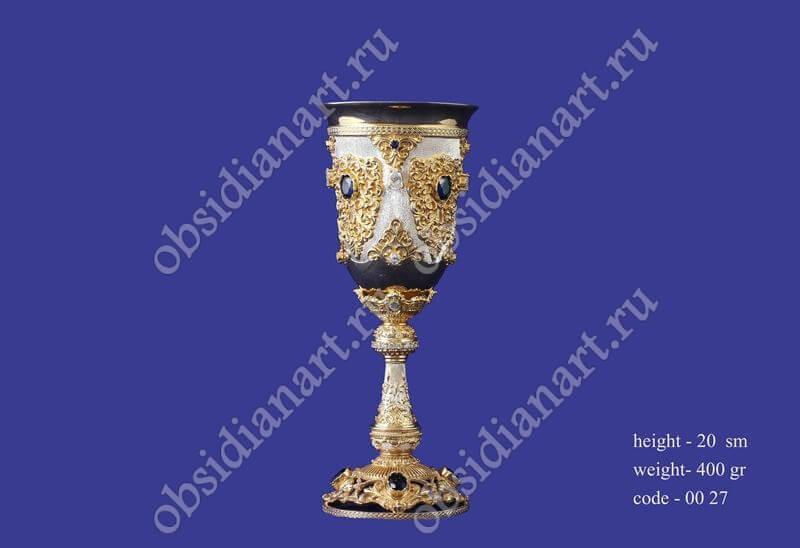 Кубок из серебра с позолотой (бокал) арт.fj-0027