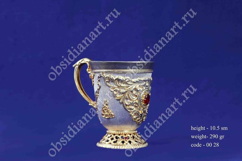Серебряная чашка с золочением арт.fj-0028