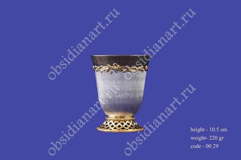 Стакан из серебра с позолотой арт.fj-0029