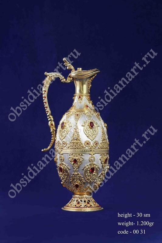 Серебряный кувшин с позолотой арт.fj-0031