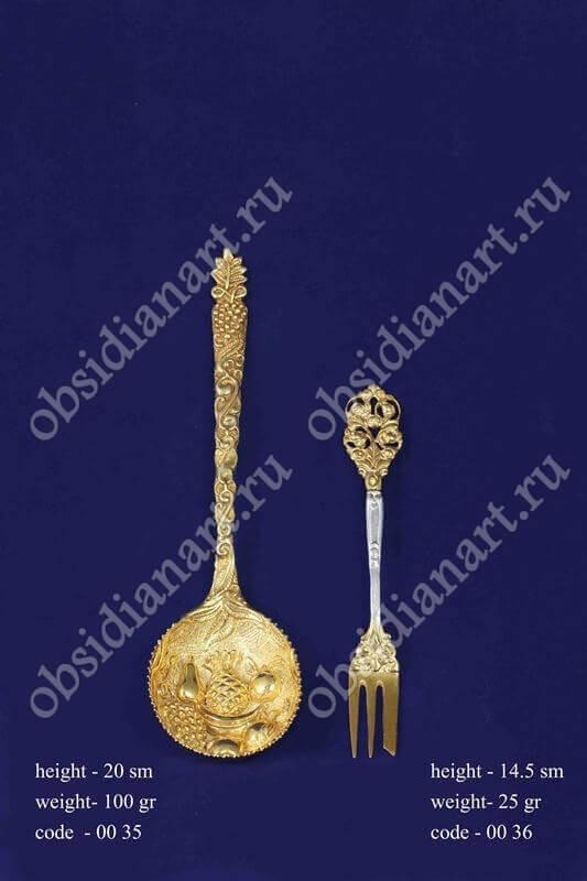 Серебряная ложка с позолотой арт.fj-0035