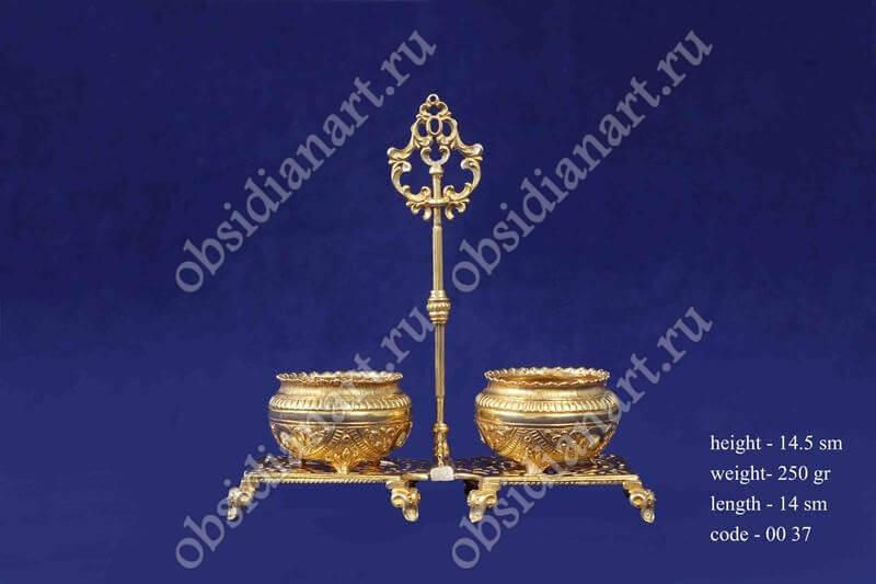 Серебряный набор для соли и перца, позолота, арт.fj-0037