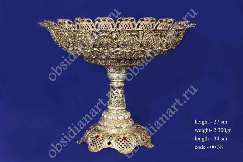 Серебряная ваза для фруктов (конфетница) с позолотой арт.fj-0038