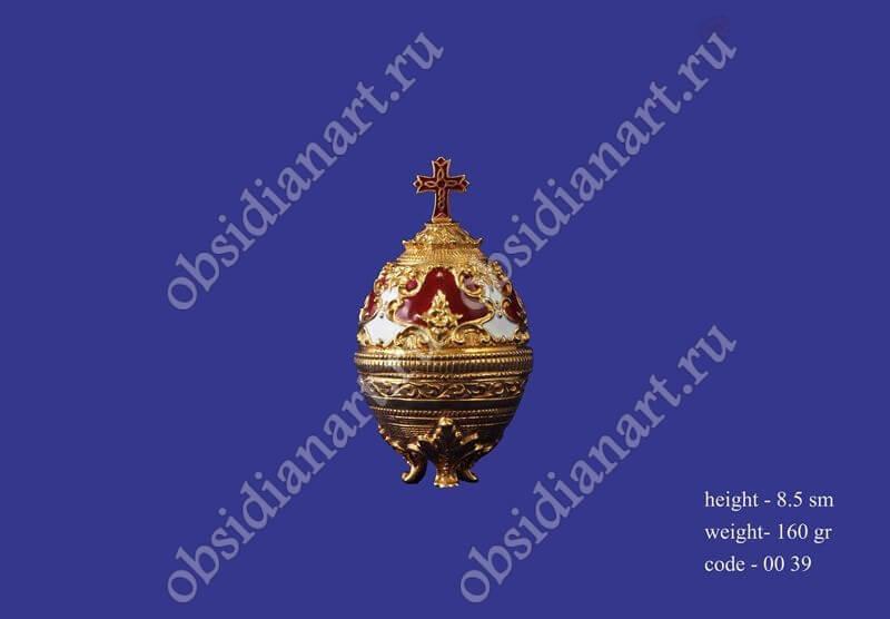 Ювелирная шкатулка «Яйцо Фаберже» из серебра с позолотой, арт.fj-0039