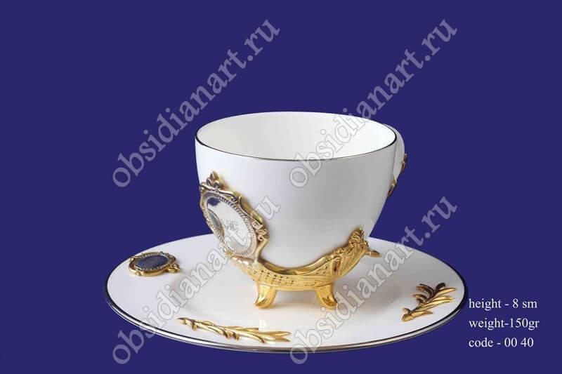 Чайная пара Villeroy & Boch с деталями из серебра с позолотой, арт.fj-0040