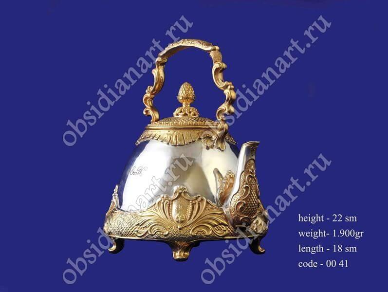 Серебряный чайник с позолотой, арт.fj-0041