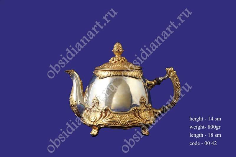 Серебряный заварник с позолотой, арт.fj-0042