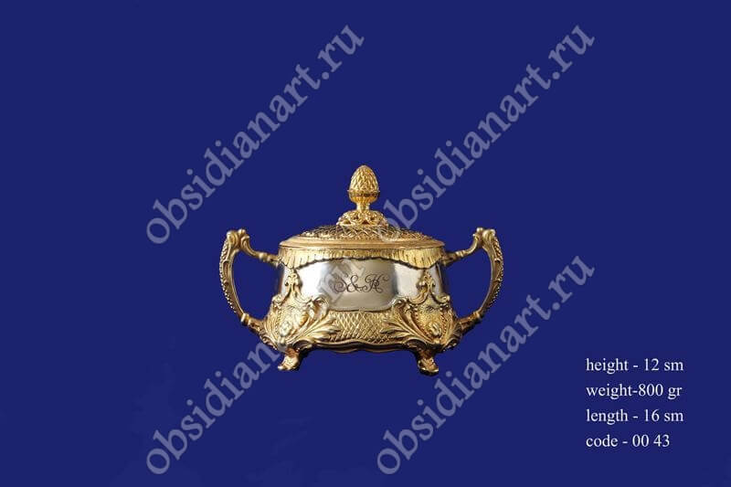 Серебряная вареница с позолотой, арт.fj-0043