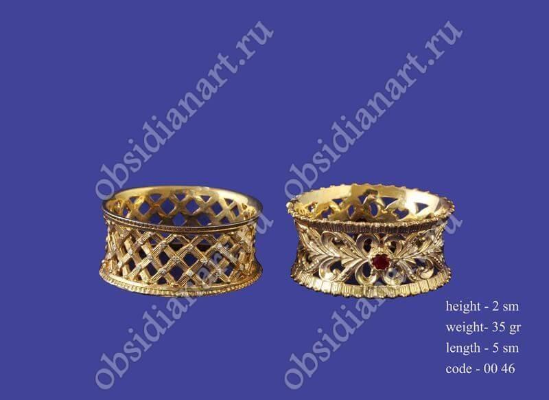 Серебряные кольца для салфеток с позолотой арт.fj-0046
