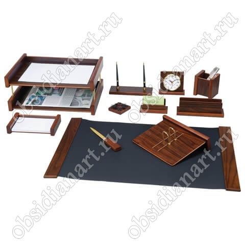 Письменный настольный набор для офиса, темное дерево, арт. 1236372