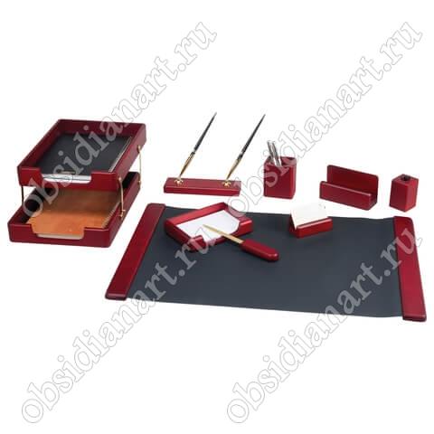 Письменный набор на офисный стол женщины руководителя, красное дерево, арт. 1236377